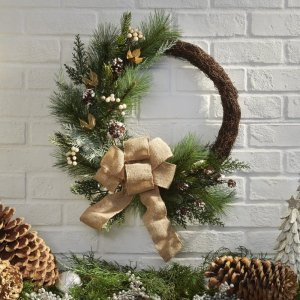 Belham Living18 in. Natural Asymmetrical Wreath