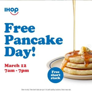 Today Only: Free Pancake!IHOP Free Pancake Day