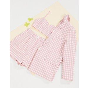 粉色格纹西装3件套