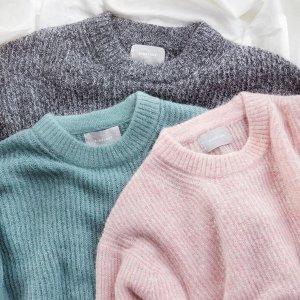 低至5折+首单9折Everlane 舒适纯色毛衣、针织衫专选 环保级卫衣$30