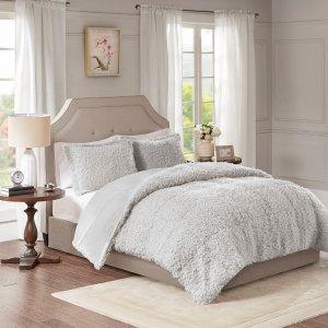 Designer Living Nova Faux Mohair Reverse Faux Mink Comforter Set