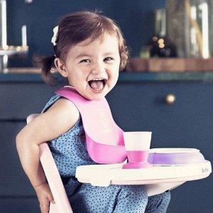 $9.99 (原价$18)BABYBJORN 婴儿防漏食物围嘴 - 橘色/紫色