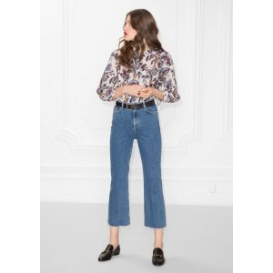 Cropped Flared Denim Jeans - Blue  - & Other Stories
