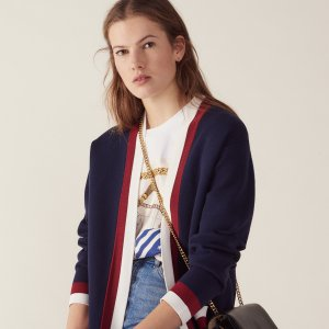 SandroFine knit collegiate cardigan