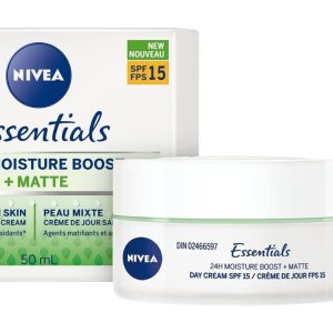 现价$5.99(原价$9.49)NIVEA Essentials 24H保湿哑光面霜SPF15 适合油皮、混合皮