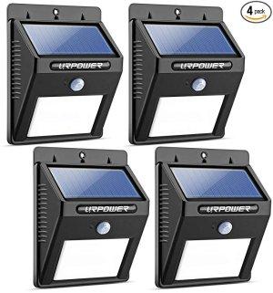 URPOWER 防水室外太阳能照明灯,带移动侦测,4个装