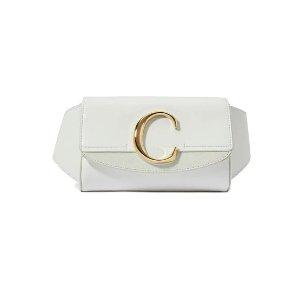CHLOE白色C logo腰包