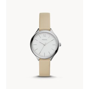FossilSuitor Three-Hand White Leather Watch