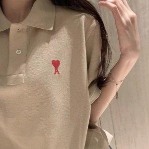 100%有机棉!网红类似款米色桃心短袖