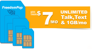 Less than $7/mo3 -Month Unlimited Talk, Text, and 1GB Prepaid Plan @ Freedompop