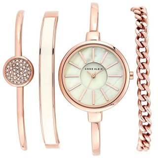 Anne Klein Women's Bangle Watch and Swarovski Crystal Bracelet Set