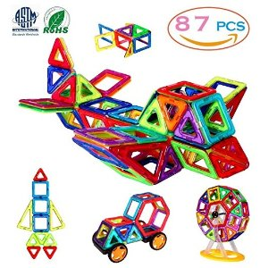 $25Magnetic Blocks, 3D Building Blocks Toys Set 87Pcs, Magnetic Tiles, Educational Toys for Baby/ Kids (ASTM and ROHS certification)