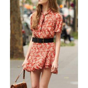 SandroShort-Sleeved Printed Dress