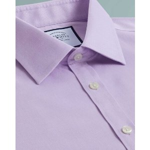 Charles TyrwhittSuper slim fit non-iron lilac triangle weave shirt