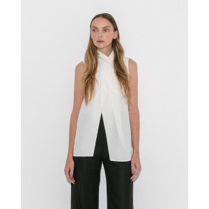 Le MerceauWhite Knotted Sleeveless Blouse