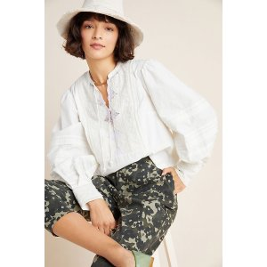 AnthropologieDelilah Pleated Lace Peasant Blouse