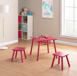 Mainstays Kids Wood Play Table & 2 Stools Set with Net Storage