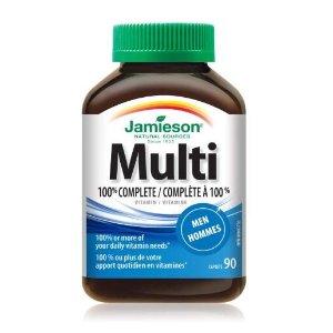 $7.12(原价$13.11)史低价:Jamieson 100% 男性综维90粒装 提高免疫力