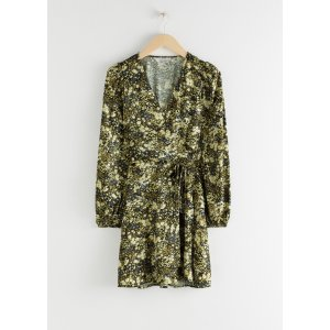 & Other StoriesFloral Puff Sleeve Mini Wrap Dress