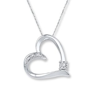 Heart Necklace Diamond Accents Sterling Silver