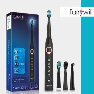 仅需€16.99 还牙齿洁白Fairywill 508 超平价声波电动牙刷热促 5种模式3个刷头超长续航