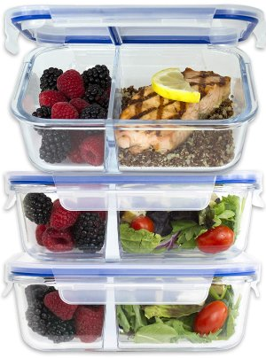 [Large Premium 3 Pack] 2 Compartment Glass Meal Prep Containers w/ New Divider Seal