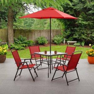 $99.99Mainstays 室外可折叠餐桌餐椅套装 带遮阳伞 多色可选