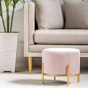 New!Pink Pleated Velvet and Gold Metal Stool