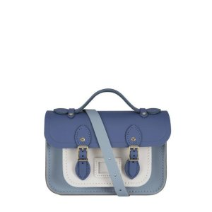 The Cambridge Satchel CompanyMagnetic Mini Satchel in Leather - Italian Blue Matte, French Grey & Clay