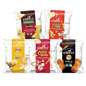 $9.66Simply Brand Organic Doritos Tortilla Chips, Lay's Potato Chips, Cheetos Puffs, Variety Pack, 0.875 Ounce Bags (36 Count)