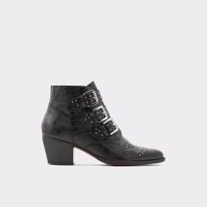 AldoBennevis Black Leather Croco Women's Ankle Boots & Booties | ALDO US