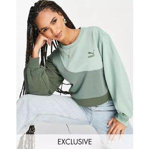 Pumaconvey oversized sweatshirt in green color block Exclusive to ASOS