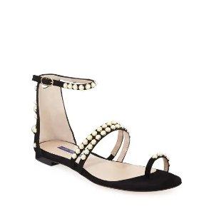 Stuart WeitzmanPetrina Flat Studded 麂皮凉鞋
