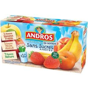 ANDROS首单8折+满4件享9.5折,90g*10混合口味果泥(香蕉苹果*4,李子桃子*3,原味*3)