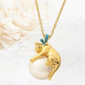直邮好价¥397VENDOME BOUTIQUE 女士猫咪珍珠项链