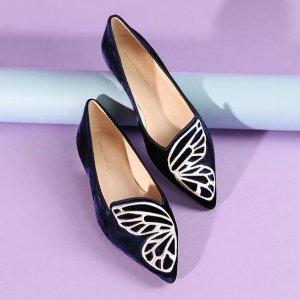 $320 (官网$445) 黄金码全Sophia Webster Bibi 麂皮蝴蝶平底鞋 定价优势