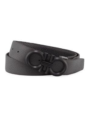 Salvatore Ferragamo Men's Reversible Textured Leather Belt with Beveled Gancini Buckle | Neiman Marcus