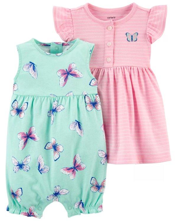 婴儿爬服连衣裙套装