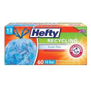 $5.82 包邮Hefty 带抽绳垃圾袋13加仑,60个