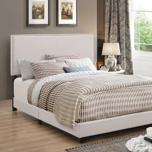 Porch & DenManes Wood and Polyester Upholstered Bed - Queen - Ivory