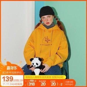 PROD秋冬季加绒加厚连帽卫衣女PROD原创熊猫趣味卡通宽松bf风学生外套-淘宝网