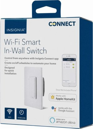 $24 Insignia™ - Wi-Fi Smart In-Wall Light Switch - White