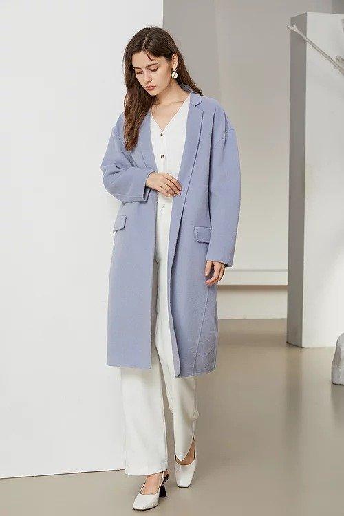灰蓝色蚕形双面羊毛大衣