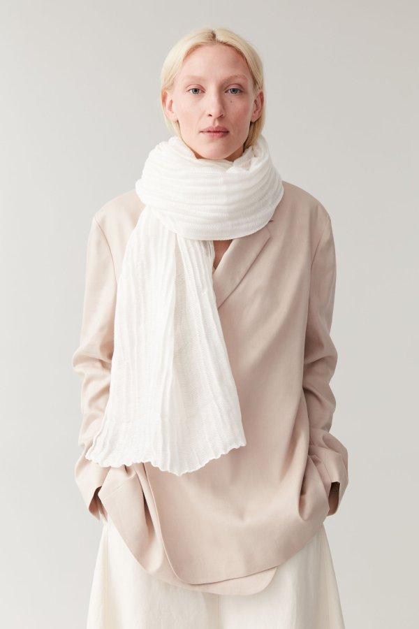 波浪纹亚麻混纺围巾