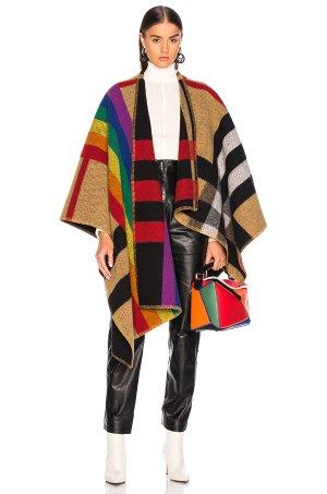 BURBERRY Rainbow stripe check blanket cape