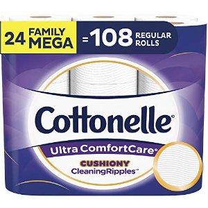 $19.49 多款可选 36超大卷仅$26Cottonelle 超舒适卫生纸 24卷超大家庭卷 相当于108普通卷