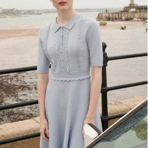 Ted Baker52%人造丝天蓝色连衣裙