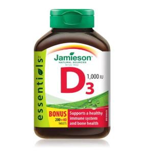 $5.2(官网$9.99)史低价:Jamieson 维生素D3补充240粒装 促进钙吸收