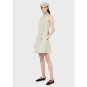 Emporio ArmaniShort Jumpsuit In Linen And Silk With Double Breasted Panel for Women | Emporio Armani