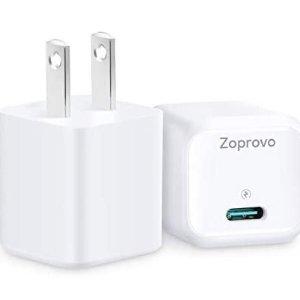 Zoprovo USB C充电器 支持20W快速充电器 2件装